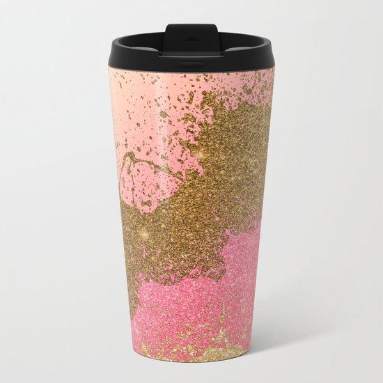 Golden pink shadows Metal Travel Mug