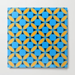 Geometric Floral Circles In Bold Turquoise Gold & Black Metal Print