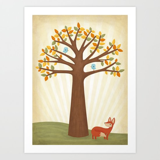 Autumn and the Fox Art Print