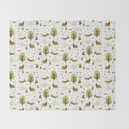 Squirrels in the forest Throw Blanket