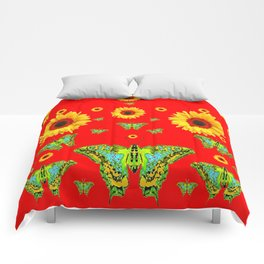 RED COLOR YELLOW SUNFLOWERS GREEN MOTHS Comforters
