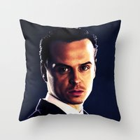 moriarty Throw Pillows featuring Jim Moriarty by Kristine Harbek