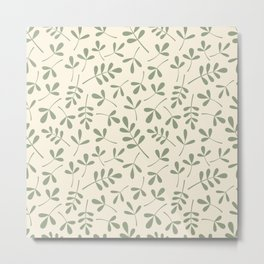 Green on Cream Assorted Leaf Silhouette Pattern Metal Print