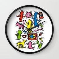 keith haring Wall Clocks featuring Haring - Simpsons by Krikoui