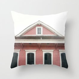 Pink House in Nola Throw Pillow