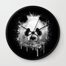 Cool Abstract Graffiti Watercolor Panda Portrait in Black & White  Wall Clock