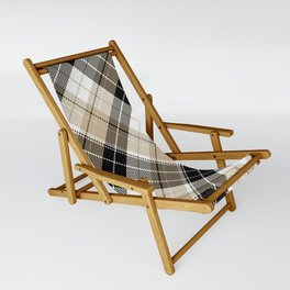 Tan and black plaid Sling Chair