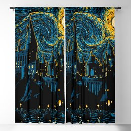 Starry night at school Blackout Curtain