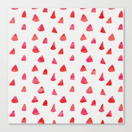 Watercolor pink red abstract geometrical triangles pattern Canvas Print