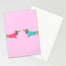 Cute dogs in love with dots in pink background Stationery Cards
