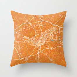 Burgos, Spain, Gold, Blue, City, Map Throw Pillow