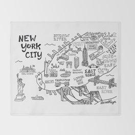 New York City Map Throw Blanket