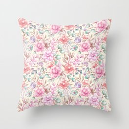 Elegant ivory pink green coral vintage flowers Throw Pillow