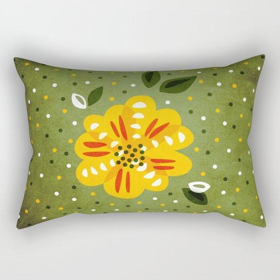 Abstract Yellow Primrose Flower Rectangular Pillow