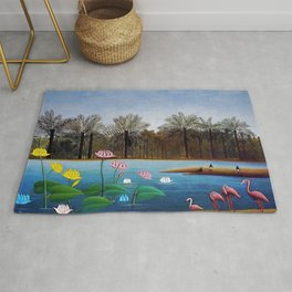 The Flamingos by Henry Rousseau Rug