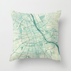 Warsaw Map Blue Vintage Throw Pillow