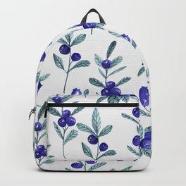 Modern watercolor blue berries fruit floral pattern Backpack