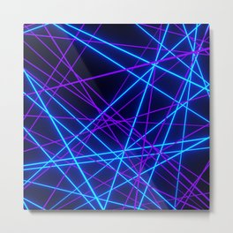 Neon Abstract Line -Blue and Purple, Black- Metal Print