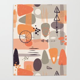 Mid Century Shapes Pattern Orange Poster