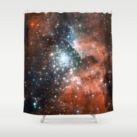 nasa Shower Curtains featuring Bright nebula stars galaxy hipster geek cool space Nasa orange nebulae photograph by iGallery
