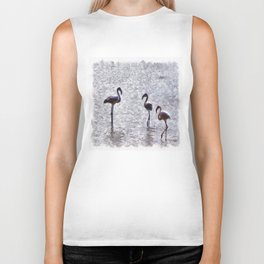 We Are The Three Flamingos Watercolor Biker Tank