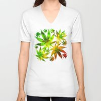 marijuana V-neck T-shirts featuring Marijuana Leaves Rasta Colors by BluedarkArt