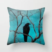 aqua Throw Pillows featuring Aqua by The Strange Days Of Gothicrow