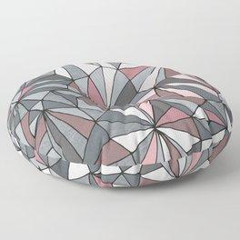 Urban Geometric Pattern on Concrete - Dark grey and pink Floor Pillow