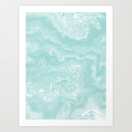 Moki - pastel mint spilled ink japanese watercolor paper marbling marble trendy abstract painting  Art Print