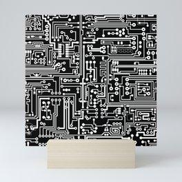 Circuit Board on Black Mini Art Print