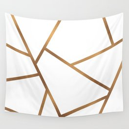 White and Gold Fragments - Geometric Design Wall Tapestry