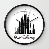 war Wall Clocks featuring War  by Tony Vazquez