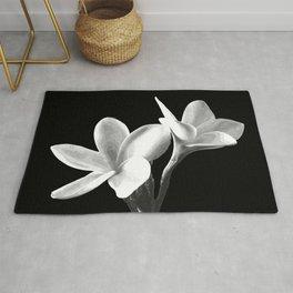White Flowers Black Background Rug