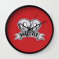 whatever Wall Clocks featuring Whatever by misfitpsycles