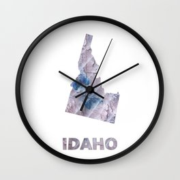 Idaho map outline Dark gray stained watercolor pattern Wall Clock