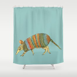 Armadillo on Blue Shower Curtain