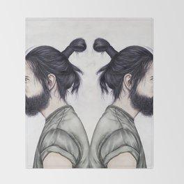 Beard & Top Knot Throw Blanket