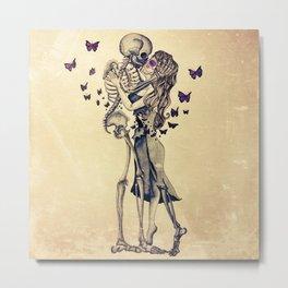 Always Kiss Goodnight Skeletons Metal Print