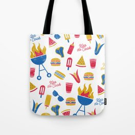 Summer BBQ Pattern - Blue Red Yellow Tote Bag