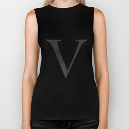 Letter V Initial Monogram Black and White Biker Tank
