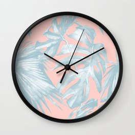 Island Love Pale Teal Blue on Millennial Pink Wall Clock