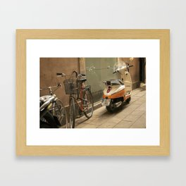 Bikes and a Scooter on Old Road Framed Art Print