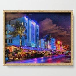 South Beach Miami City Lights by Jeanpaul Ferro Serving Tray