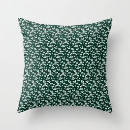 Green Floral Throw Pillow