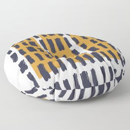 Brush Stroke with Mustard 04 - Abstract Minimal Shapes Modern Mid Century Texture Floor Pillow