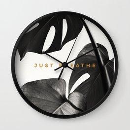 Just Breathe Black Monstera Print Wall Clock