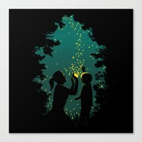 fireflies Canvas Prints featuring Fireflies by Pigboom Art