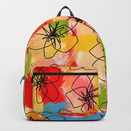 Hibiscus Family #1 - hibiscus illustration flower pattern floral painting nursery room decor Hawaii Backpack