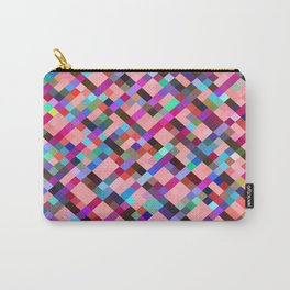 geometric pixel square pattern abstract background in pink purple blue yellow green Carry-All Pouch