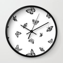 Black and White Butterflies Wall Clock